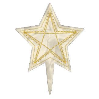Gold Embossed Filigree Pentagram - Cake Topper