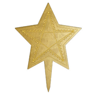 Gold Embossed Filigree Pentagram - Cake Topper