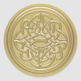 Gold Embossed Look Celtic Knot Badge Stickers