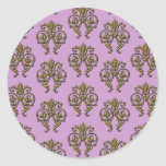 Gold Embossed Look Damask on Lilac Background Classic Round Sticker