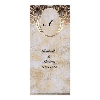 Gold Embossed Look Steamunk Wedding Rack Card