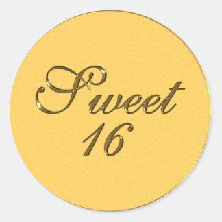 Gold Embossed look Sweet 16 Envelope Seals Fav Tag