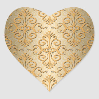 Gold Embossed Looking Damask Pattern Heart Sticker