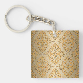 Gold Embossed Looking Damask Pattern Single-Sided Square Acrylic Keychain