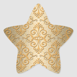 Gold Embossed Looking Damask Pattern Star Sticker