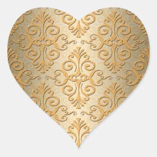 Gold Embossed Looking Damask Pattern Heart Sticker