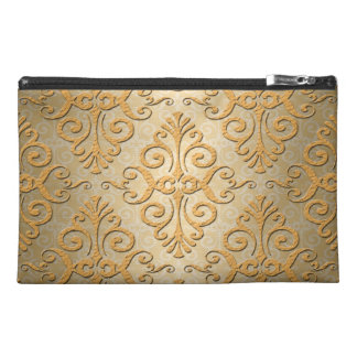 Gold Embossed Looking Damask Pattern Travel Accessory Bag