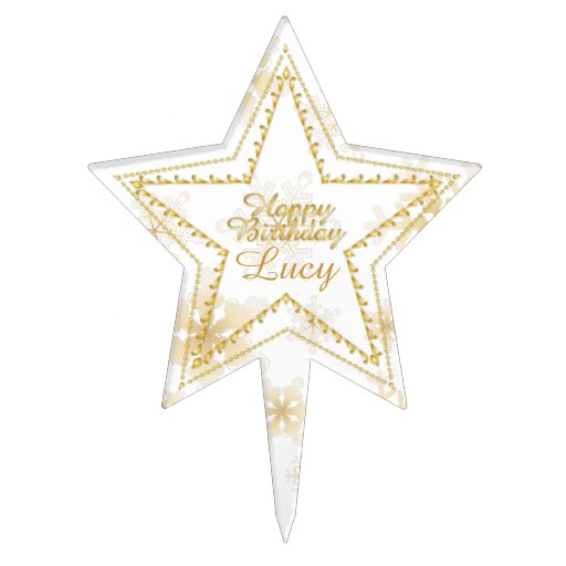 Gold Embossed Pentagram & Snowflakes 2-Cake Topper