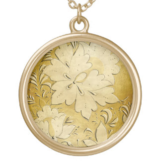 Gold Embossed Russian Folk Flowers - Necklace 1