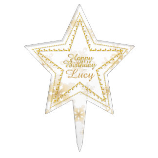 Gold Embossed Star & Snowflakes 2-Cake Topper