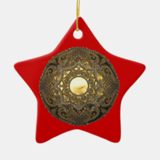 Gold-Embroidery Ceramic Ornament