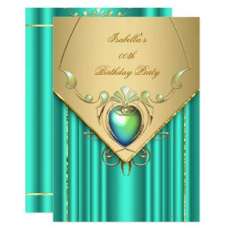 Gold Emerald Jade Green Birthday Party Invite
