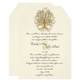 Gold Enchanted Forest Wedding Invitation