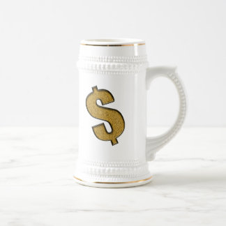 Gold Encrusted Dollar Sign Beer Stein