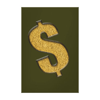 Gold Encrusted Dollar Sign Gallery Wrapped Canvas