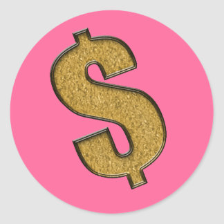 Gold Encrusted Dollar Sign Classic Round Sticker