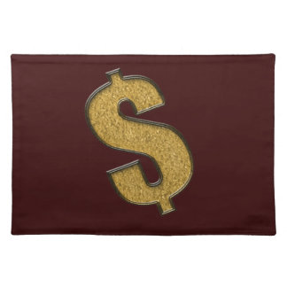 Gold Encrusted Dollar Sign Cloth Place Mat