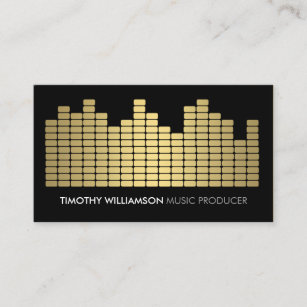 Music producer business cards zazzle gold equalizer musician dj band business card colourmoves