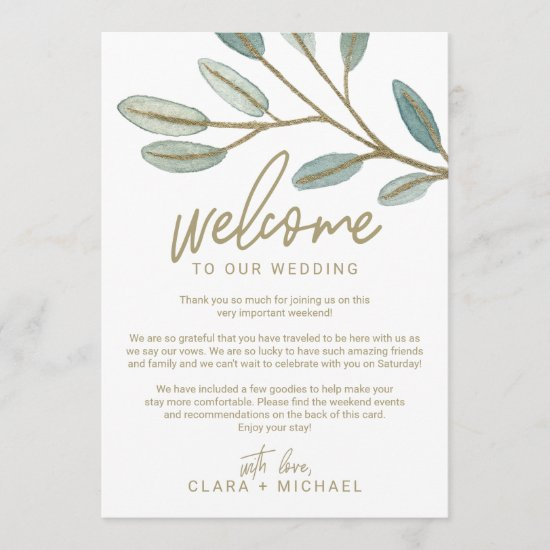 Gold Eucalyptus Wedding Welcome Letter & Itinerary Program