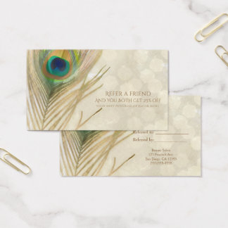 Gold Exotic Peacock Feather Glam Refer a Friend Business Card