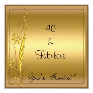 Gold Fabulous 40th Birthday Card