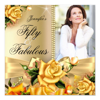 Gold Fabulous 50 Photo Yellow Rose Birthday 3 Card