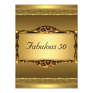 "Gold  Fabulous at 50 Birthday Party Invitation 6.5"" X 8.75"" Invitation Card"