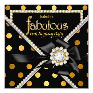 Gold Fabulous Birthday Party Black Gold Polka Dots Card