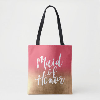 Gold Fade to Custom Color Maid of Honor Tote Bag