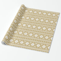 Gold Fair Isle Christmas Sweater Pattern Wrapping Paper