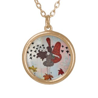 Gold Fall Fairy Necklace (Fall Colors)