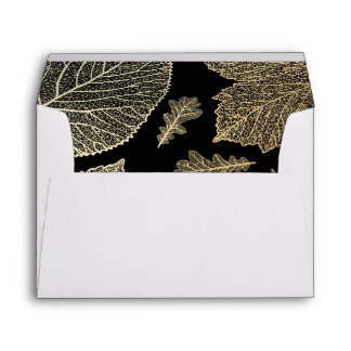 gold fall leaves black vintage fall wedding envelope