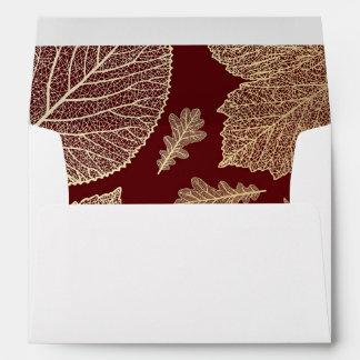 gold fall leaves burgundy vintage fall wedding envelope