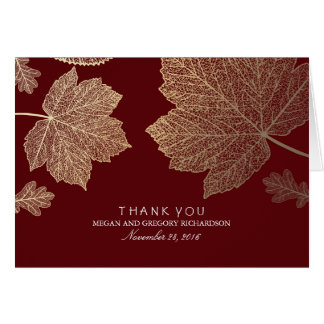 Gold Fall Leaves Burgundy Wedding Thank You