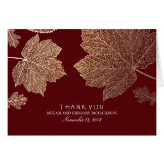 Gold Fall Leaves Burgundy Wedding Thank You Card