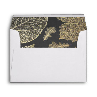 gold fall leaves chalkboard vintage fall wedding envelope