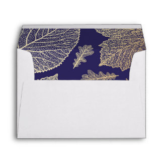 gold fall leaves navy vintage fall wedding envelope