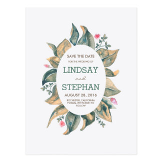 Gold Fall Leaves Rustic Garden Save the Date Postcard