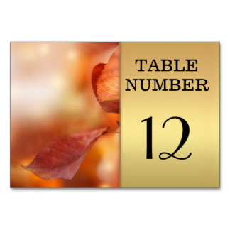 Gold Fall Leaves Table Number Card