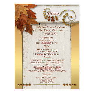 Gold Fall Leaves Thanksgiving or Wedding Menu