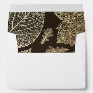 gold fall leaves vintage wedding envelope