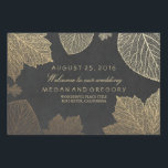"Gold Fall Leaves Wedding Lawn Sign<br><div class=""desc"">Vintage garden golden fall wedding yard signs with gold foil effect leaves and chalkboard background</div>"