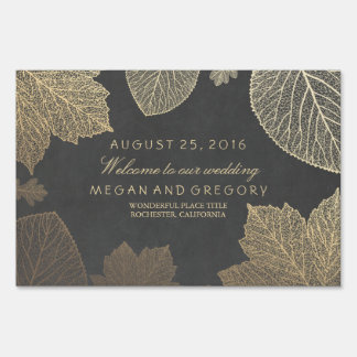 Gold Fall Leaves Wedding Lawn Sign