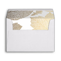 gold fall leaves white vintage fall wedding envelope