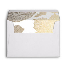 Gold Fall Leaves White Vintage Fall Wedding Envelope at Zazzle