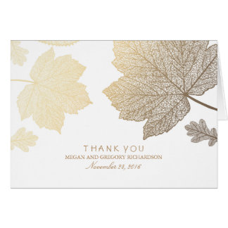 Gold Fall Leaves White Wedding Thank You Card