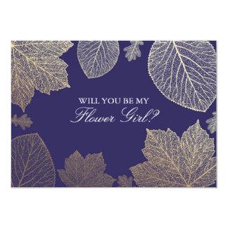Gold Fall Navy Wedding Flower Girl Invitation
