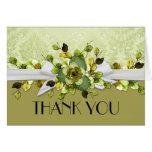Gold Fall Romantic Ribbon Elegant Thank you card Greeting Cards