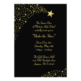 Gold Falling Stars Prom Formal Invitations