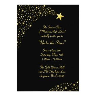 """Gold Falling Stars Prom Formal Invitations 5"""" X 7"""" Invitation Card"""